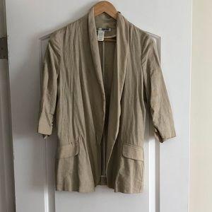 Necessary Objects tan linen blazer